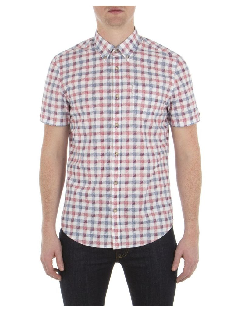 Short Sleeve Sketched House Gingham Shirt XXS A47 Bright White