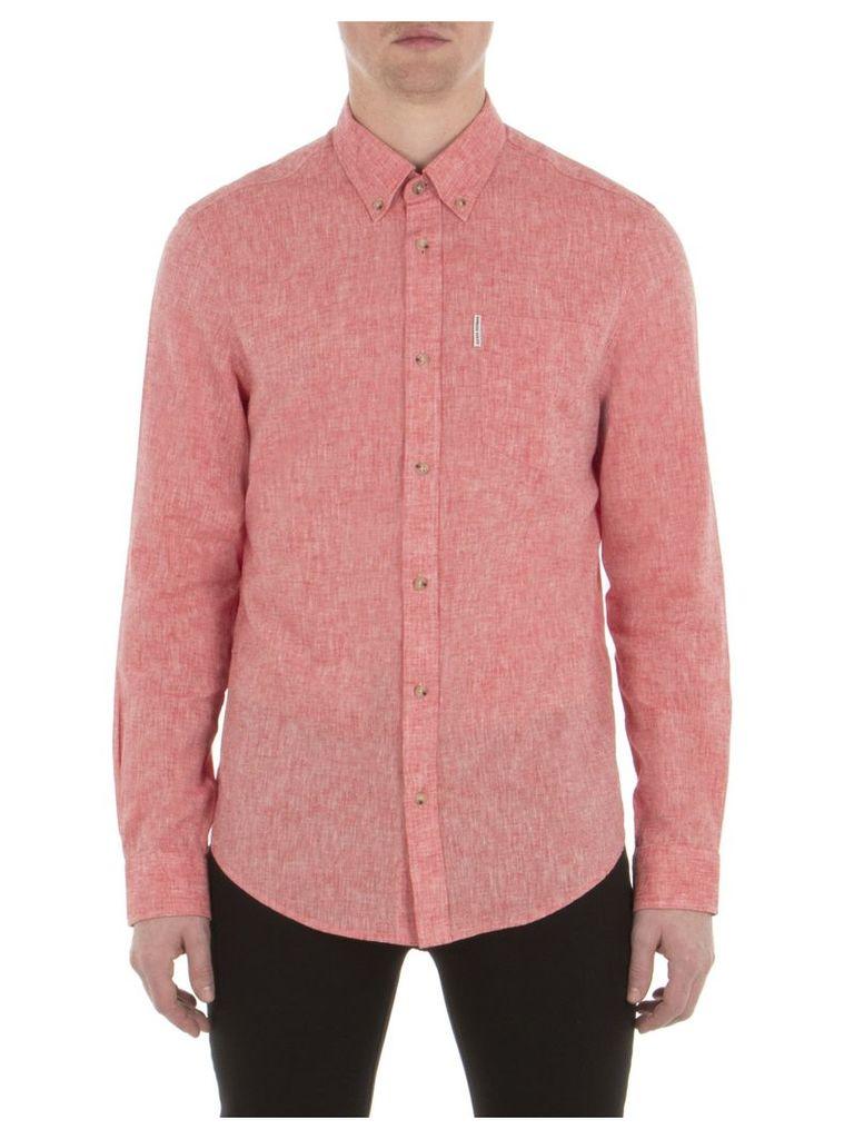 Long Sleeve Linen Shirt XXS D87 Letterbox Red