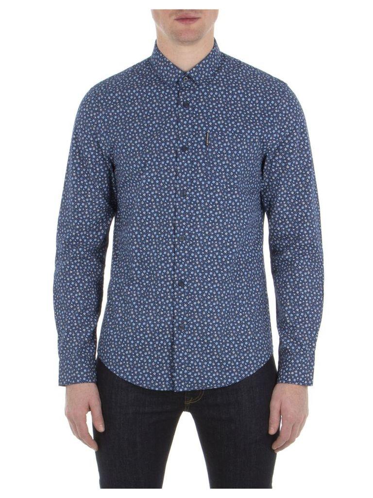 Long Sleeve Micro Floral Shirt XXS B51 Navy Blazer