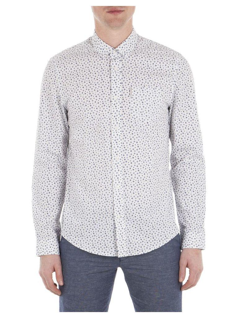 Long Sleeve Micro Floral Shirt XXS A47 Bright White
