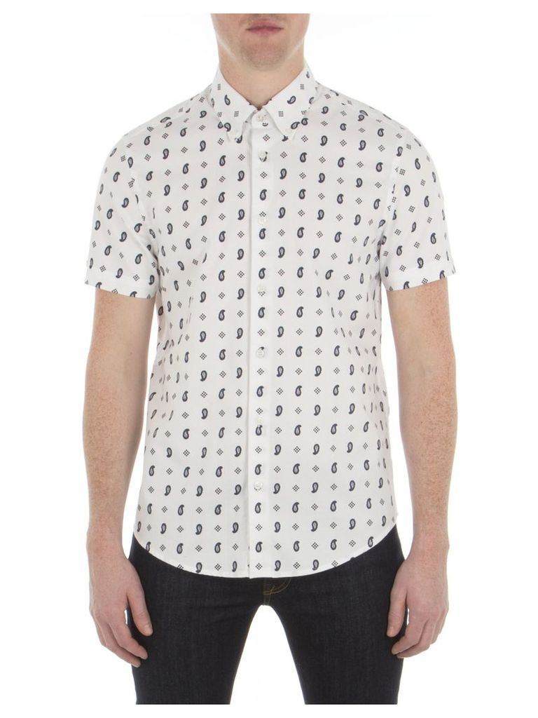 Short Sleeve Paisley Print Shirt XXS A47 Bright White