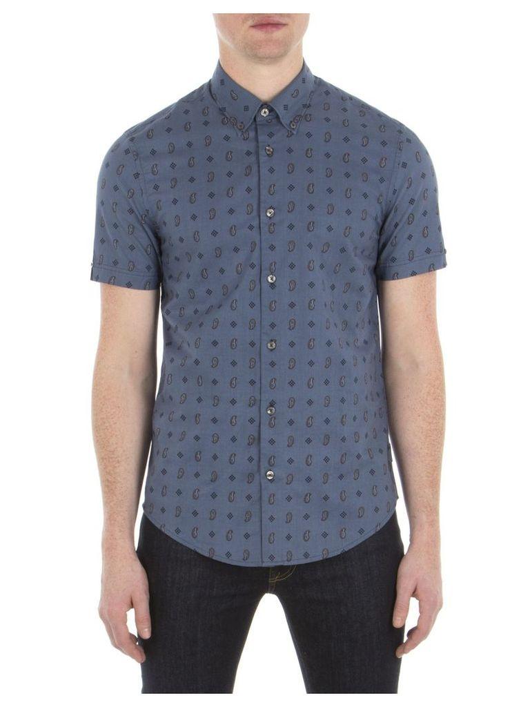 Short Sleeve Paisley Print Shirt XXS A10 Bering Sea