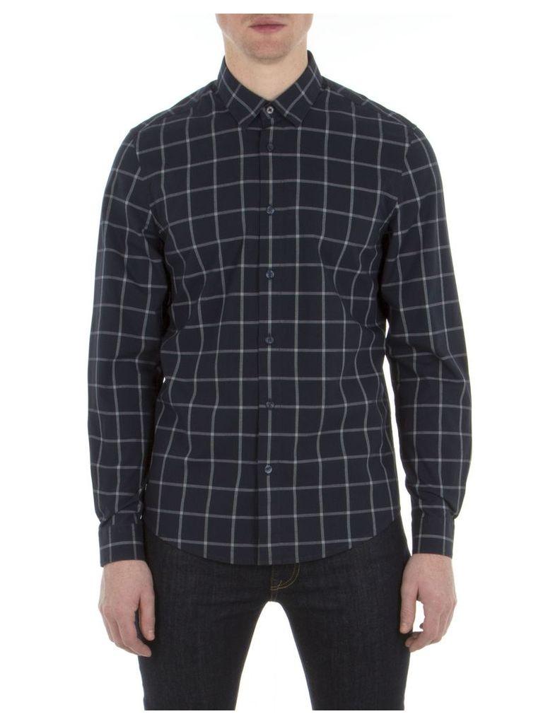 Long Sleeve Windowpane Shirt XXS B51 Navy Blazer