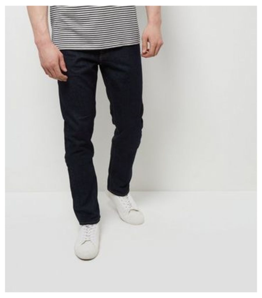 Navy Rinse Washed Slim Fit Jeans