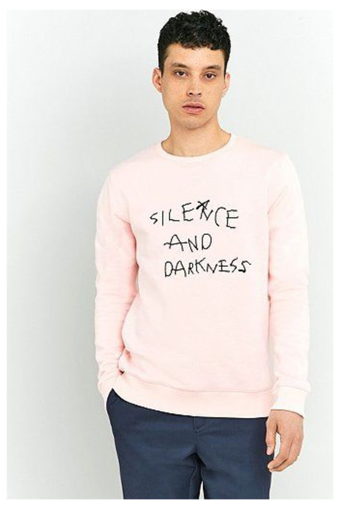 Soulland Silence and Darkness Pink Embroidered Sweatshirt, Pink