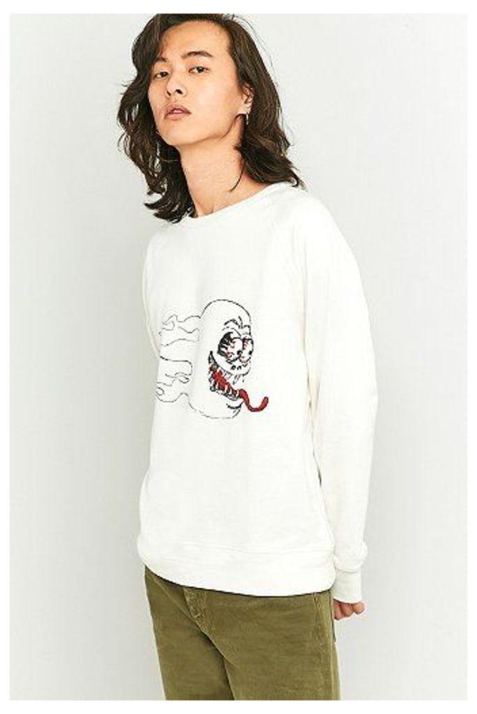 Cheap Monday Hot Skull Crewneck Sweatshirt, Ivory