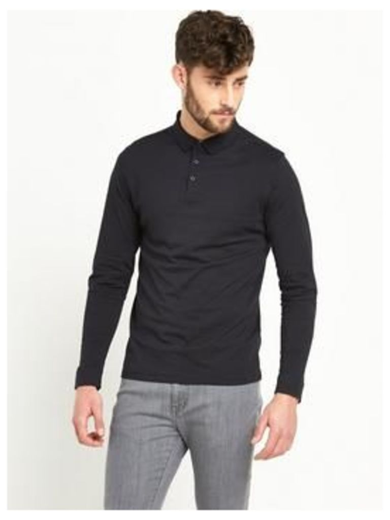 V By Very Long Sleeve Jersey Mens Polo Shirt