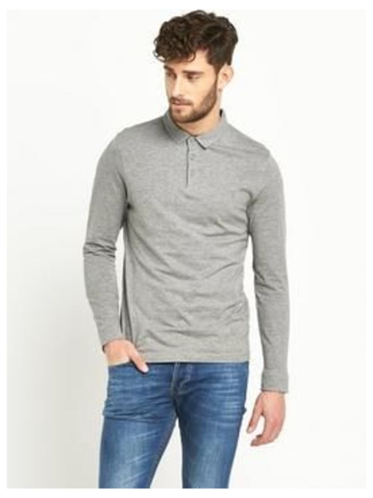 V By Very Long Sleeve Jersey Polo Shirt