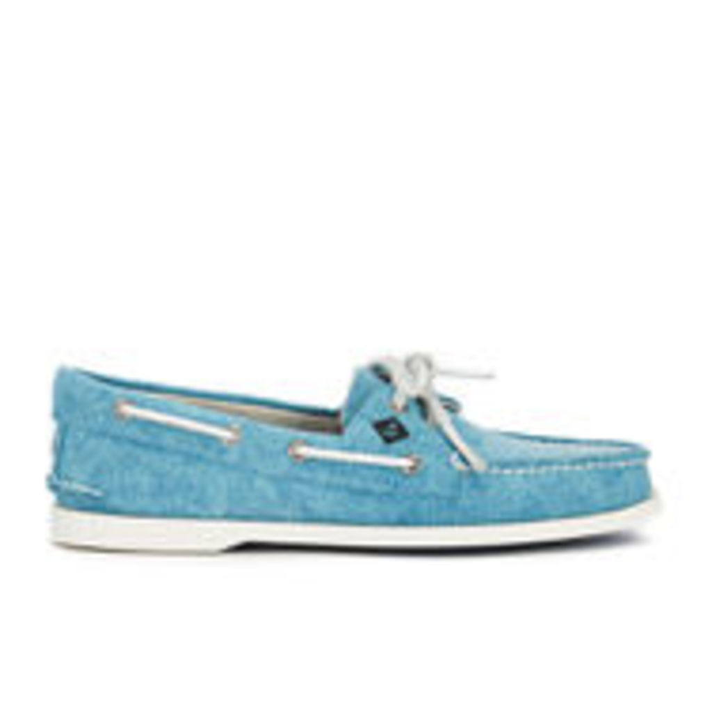 Sperry Men's A/O 2-Eye White Cap Canvas Boat Shoes - Turquoise - UK 10