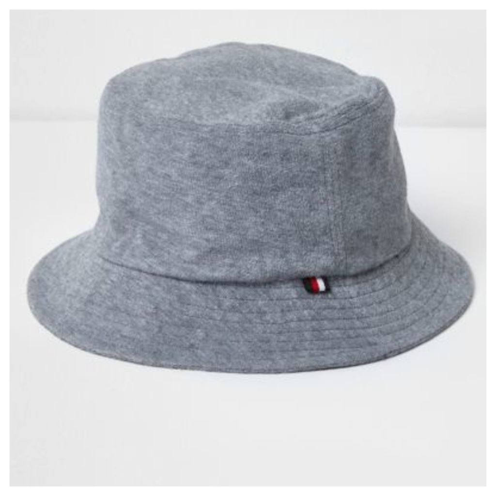 River Island Mens Grey towelling bucket hat