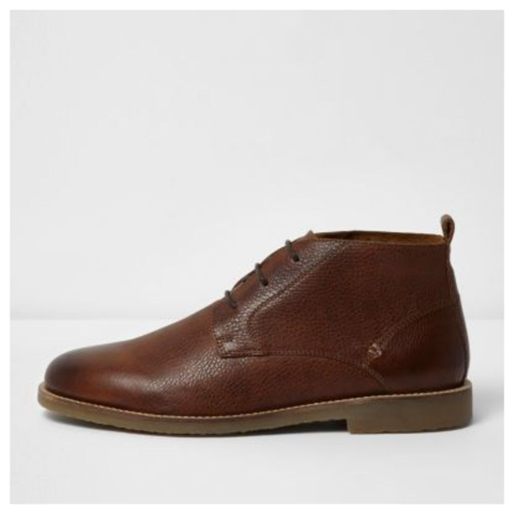 River Island Mens Brown textured leather chukka boots