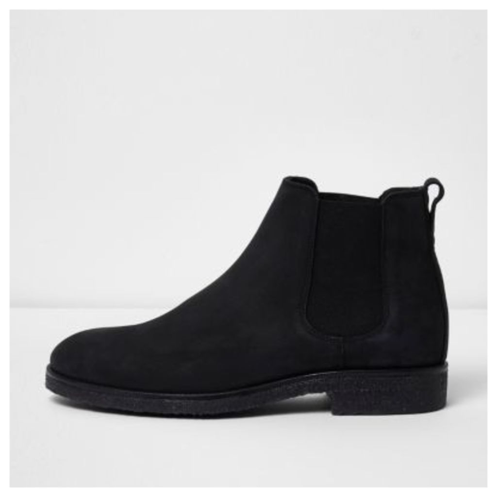River Island Mens Black nubuck leather chelsea boots