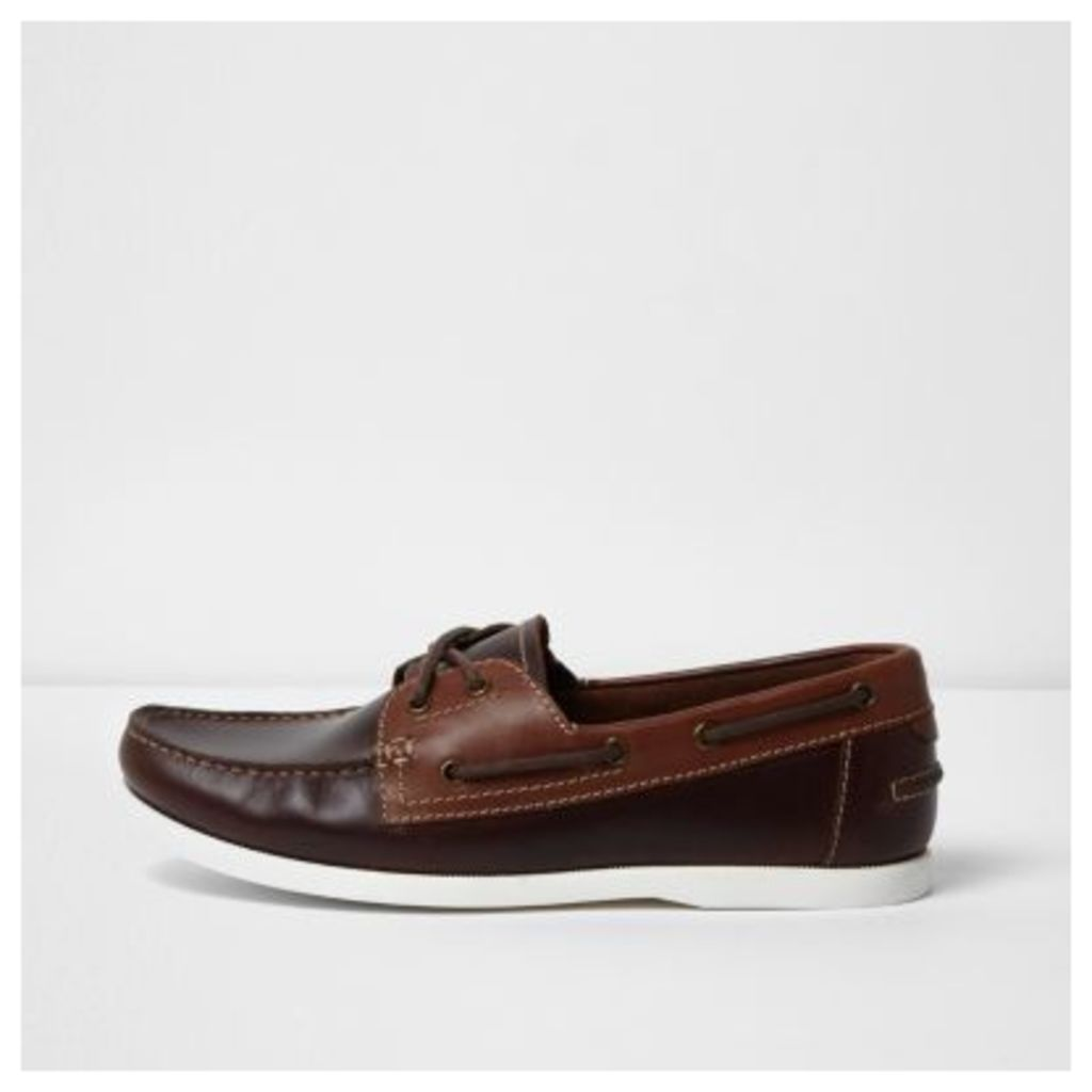River Island Mens Brown leather boat shoes