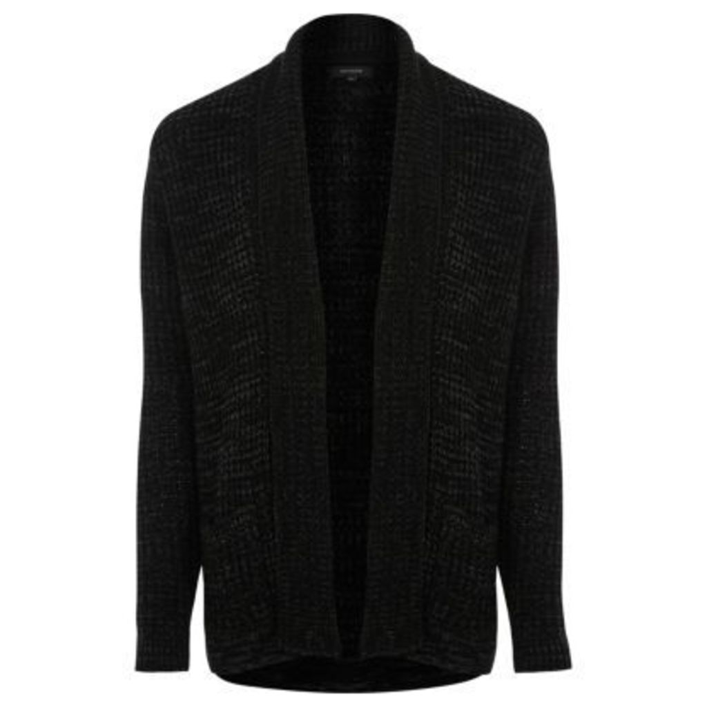 River Island Mens Black open cardigan