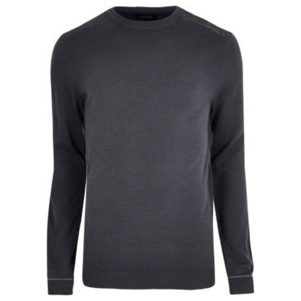 River Island Mens Dark Grey slim fit mesh panel sweatshirt