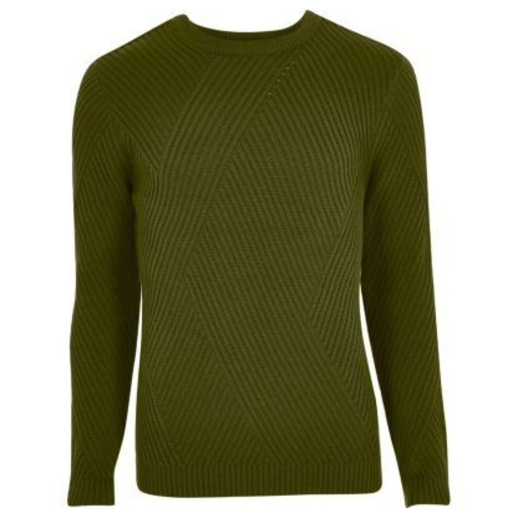 River Island Mens Green ribbed panel slim fit jumper