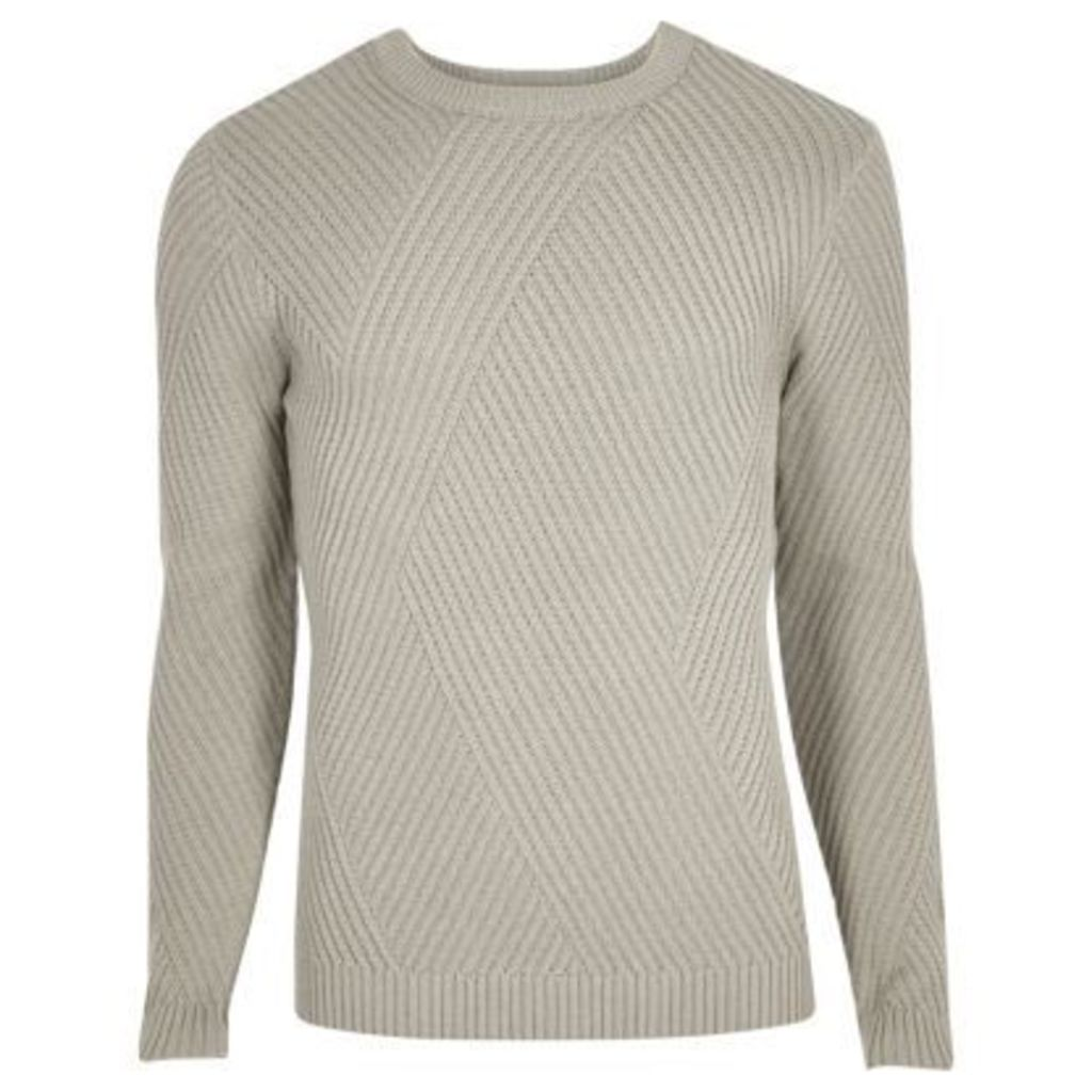 River Island Mens Grey ribbed panel slim fit jumper