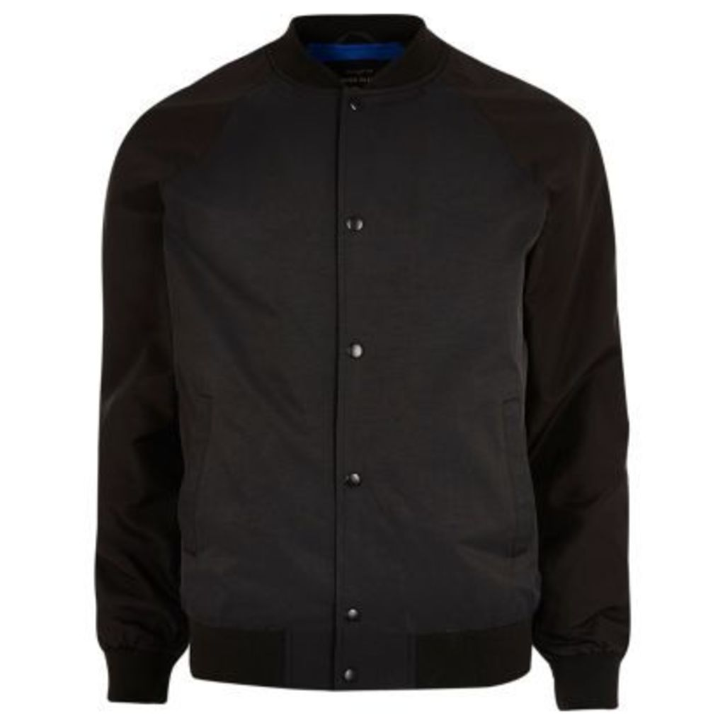 River Island Mens Black raglan sleeve bomber jacket