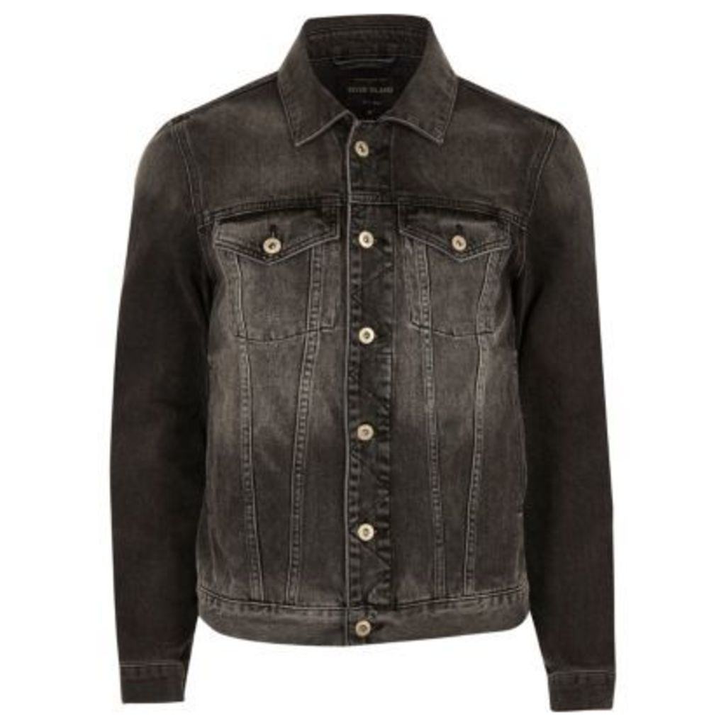 River Island Mens Black faded denim jacket