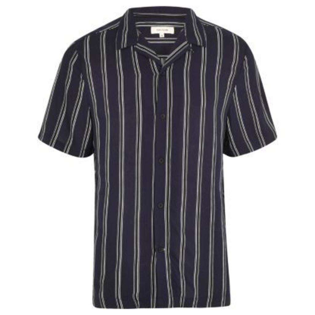 River Island Mens Blue stripe revere collar shirt