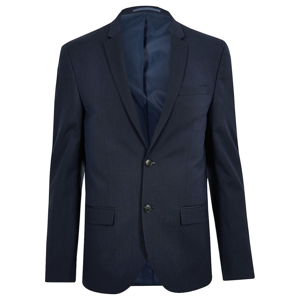 River Island Mens Dark Blue skinny suit jacket