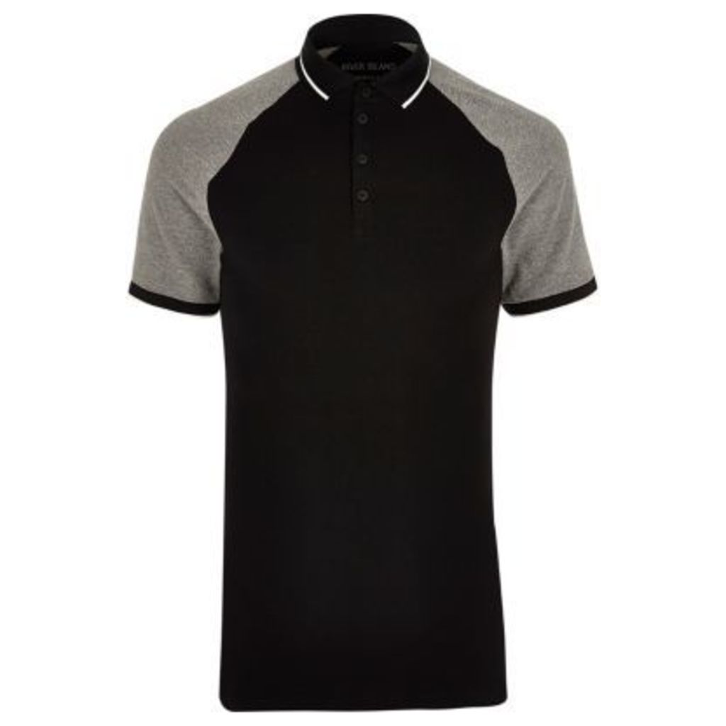 River Island Mens Black and grey muscle fit polo shirt