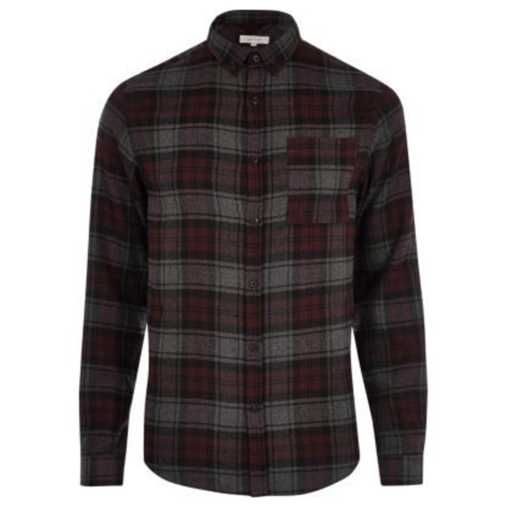 River Island Mens Purple casual check shirt