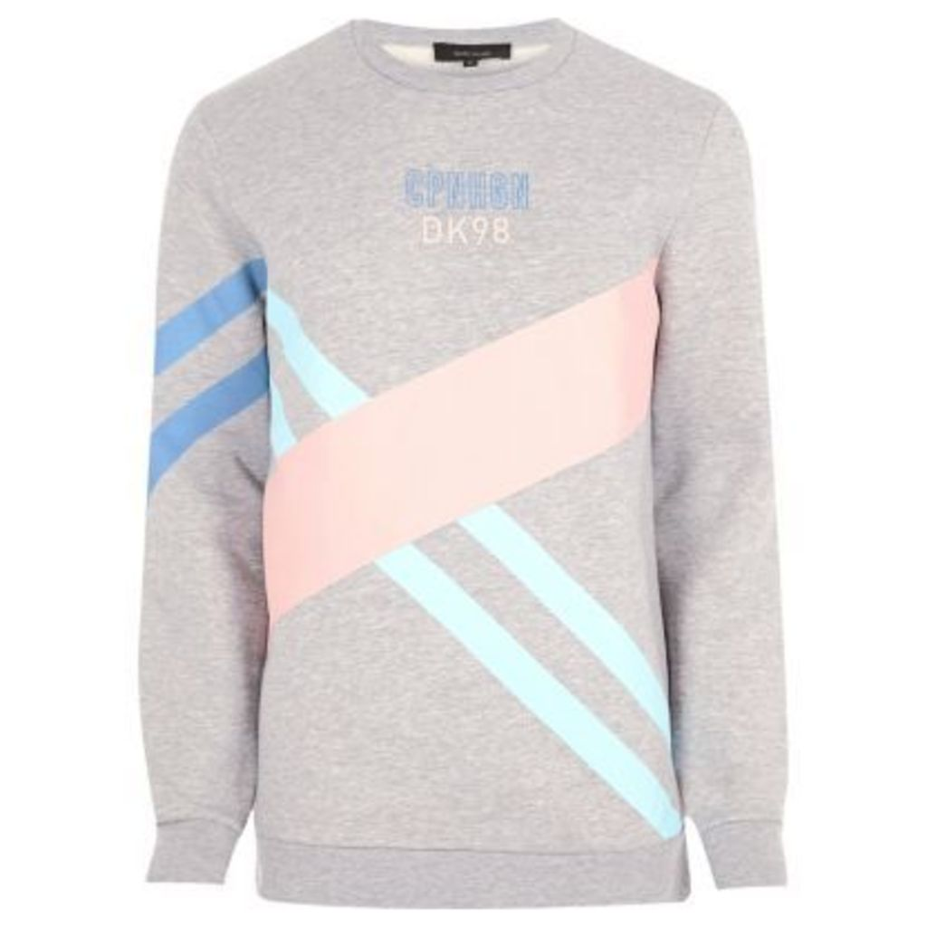 River Island Mens Grey colour blocked sweatshirt