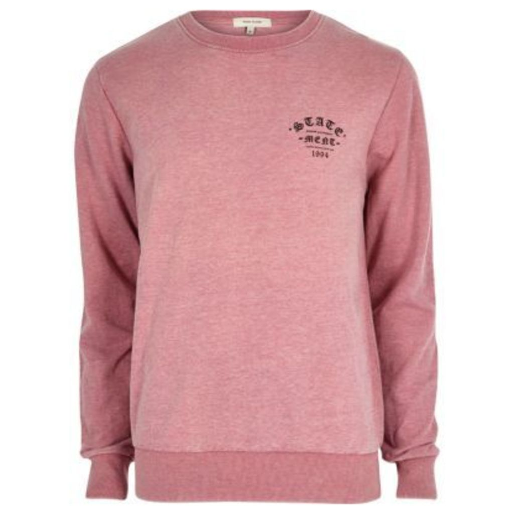 River Island Mens Pink casual statement sweatshirt