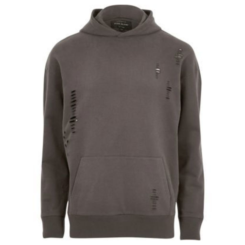 River Island Mens Dark Grey distressed hoodie
