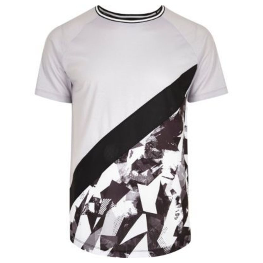 River Island Mens Grey abstract print panel slim fit T-shirt