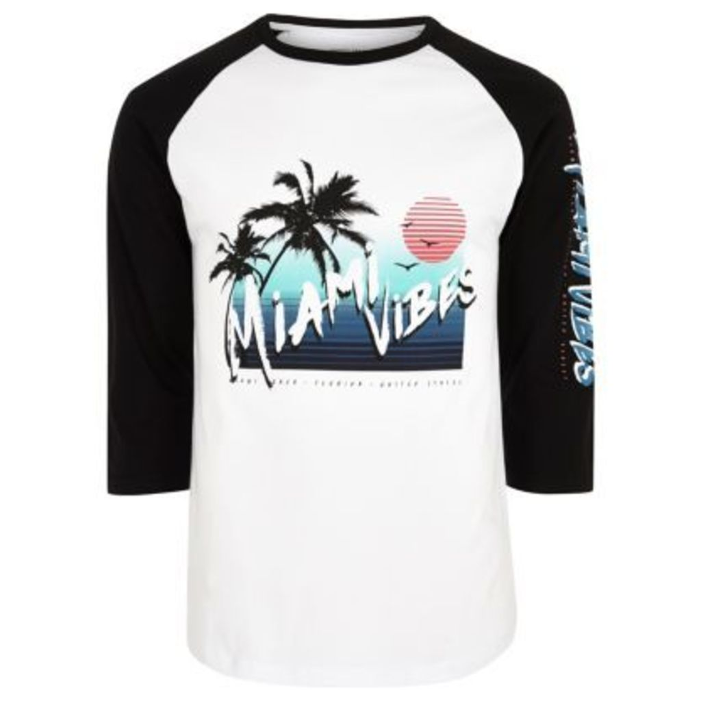 River Island Mens White 'Miami vibes' raglan sleeve top