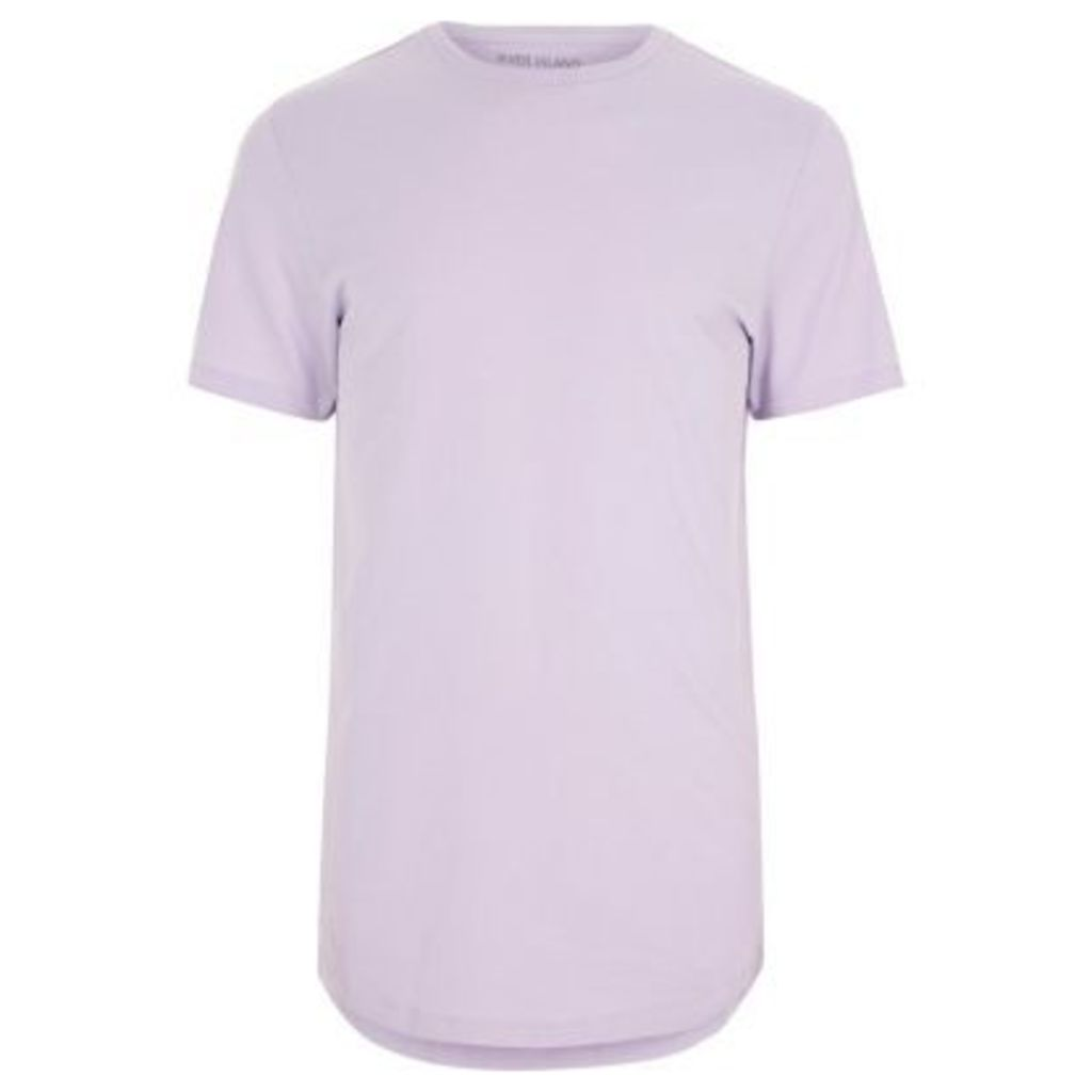 River Island Mens Light Purple curved hem crew neck T-shirt