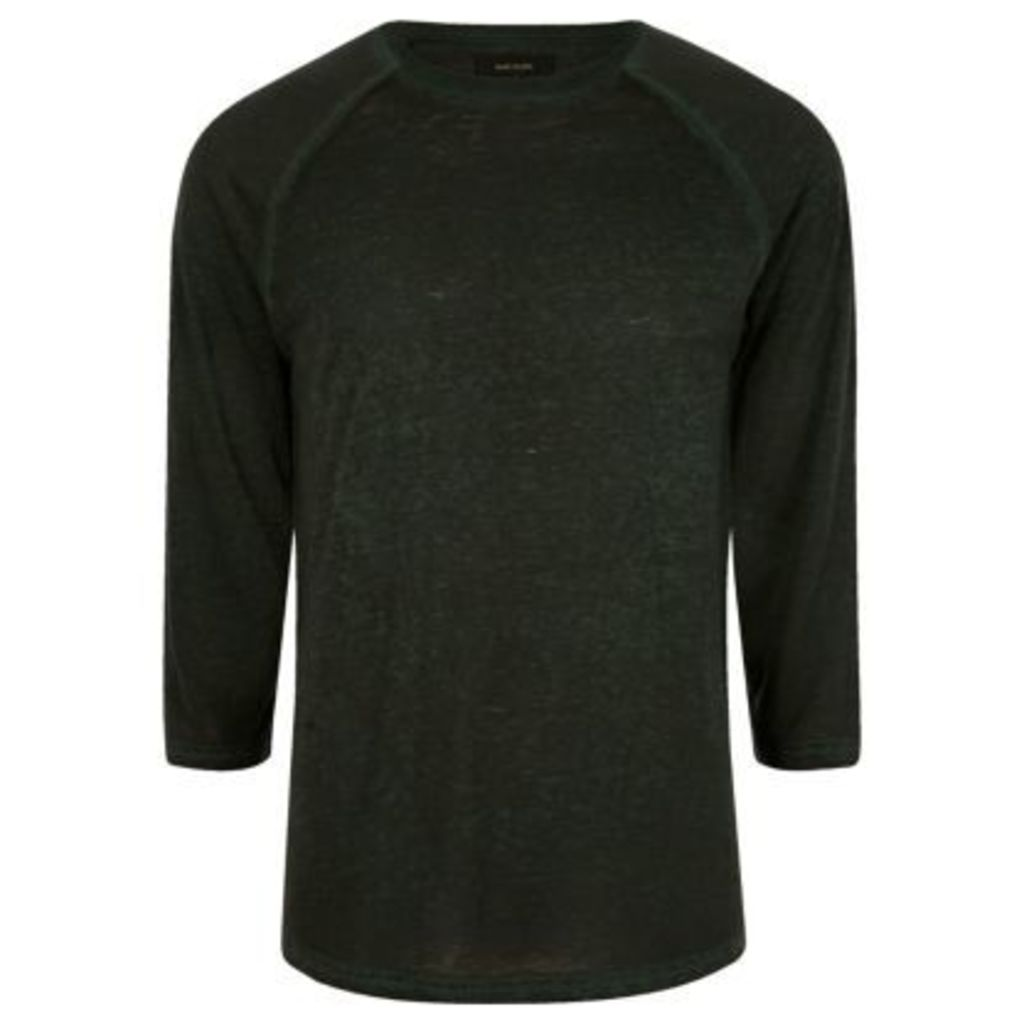 River Island Mens Dark Green burnout slim fit raglan sleeve top
