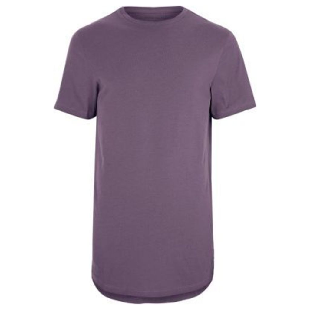 River Island Mens Purple curved hem crew neck T-shirt