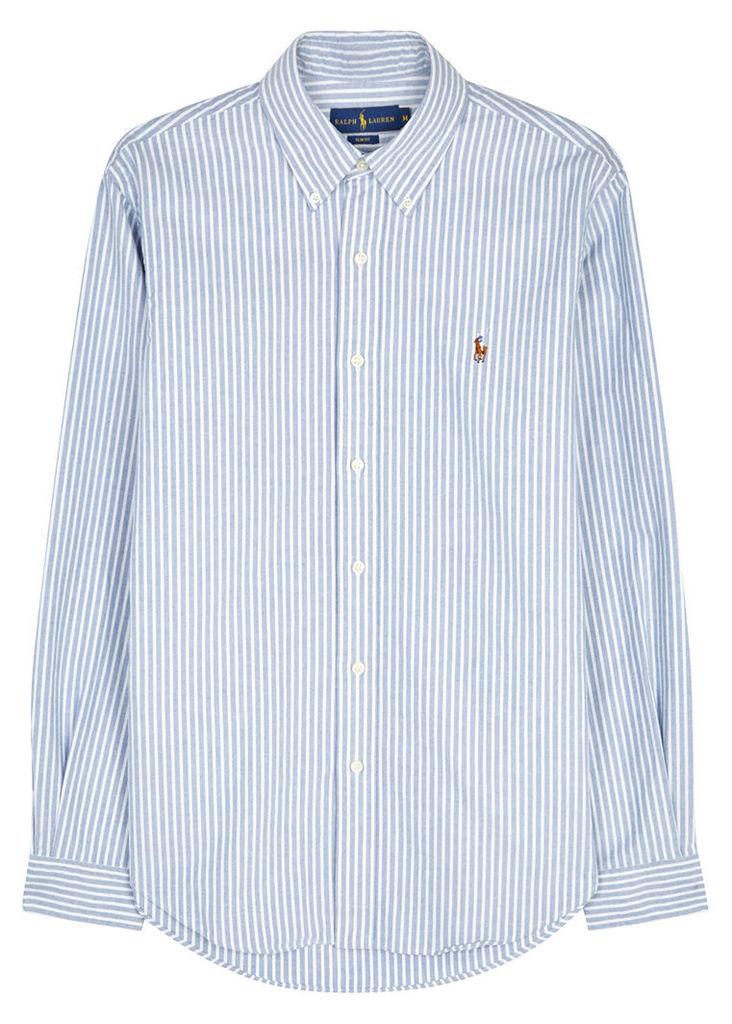 Blue slim striped cotton Oxford shirt