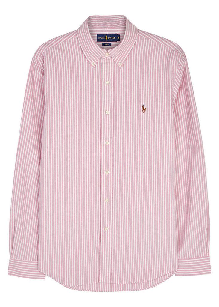 Pink slim striped cotton Oxford shirt
