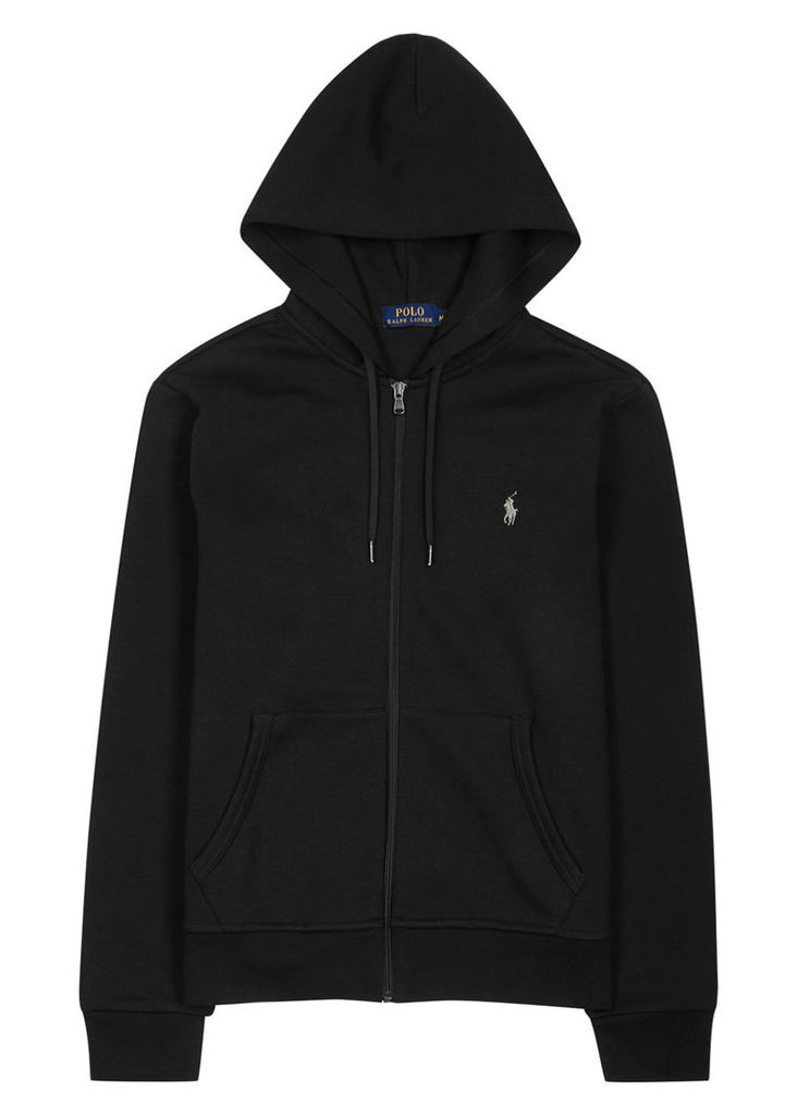 Black hooded jersey sweatshirt