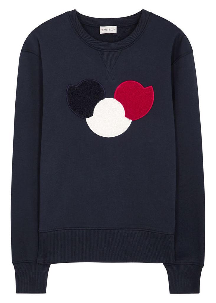 Navy logo-appliquéd cotton sweatshirt