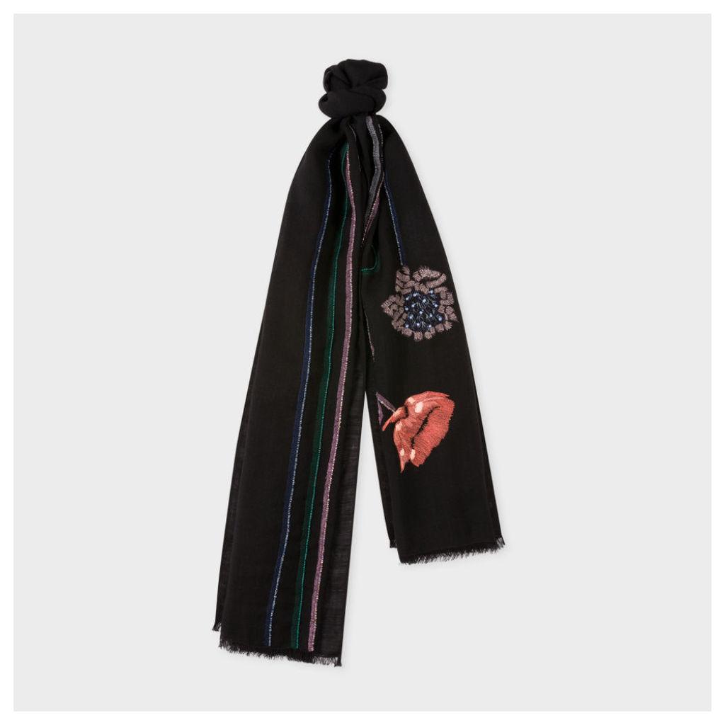 Men's Black Wool Embellished 'Flower Stem' Scarf