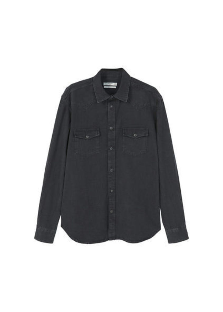Slim-fit dark wash denim shirt