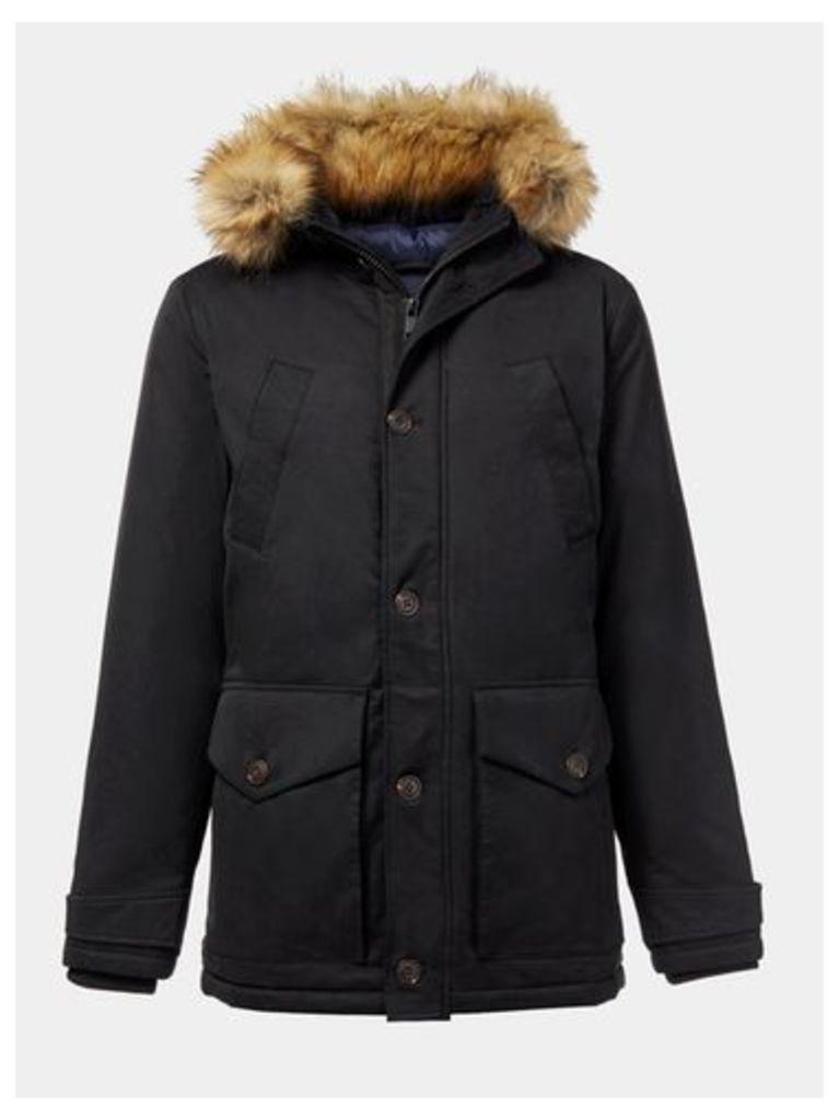 Mens Black Parka Coat, Black