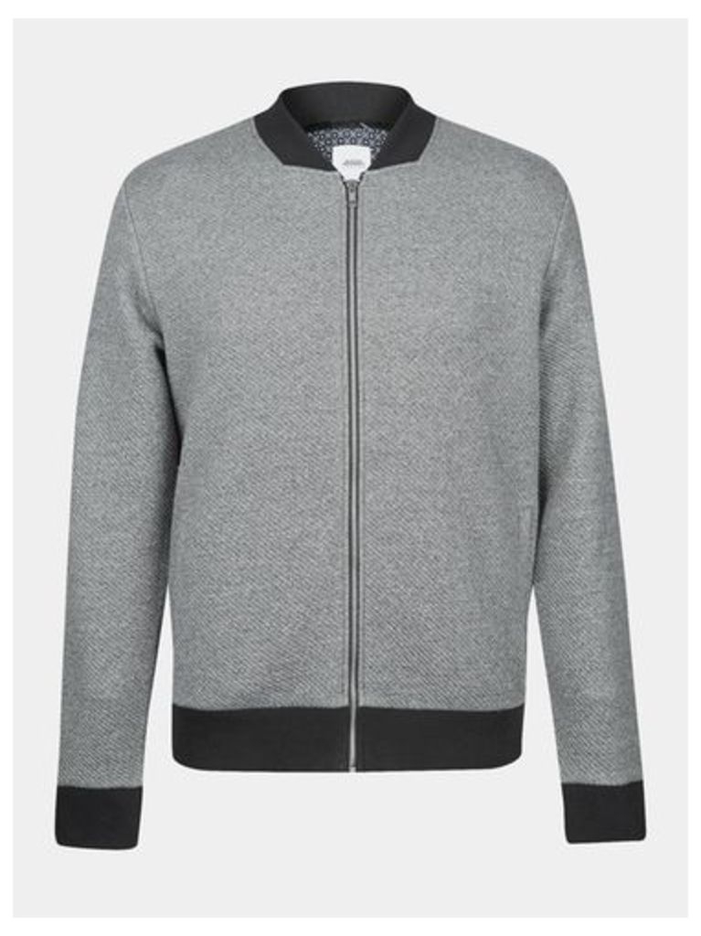Mens Grey Twill Quilted Bomber Jacket, Grey