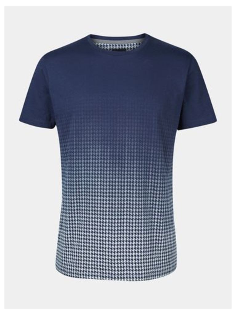 Mens Navy Dogtooth Fade T-Shirt, Blue