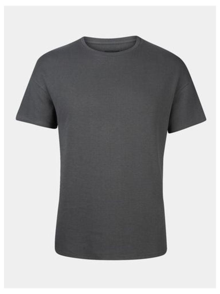Mens Charcoal Waffle T-Shirt, Grey