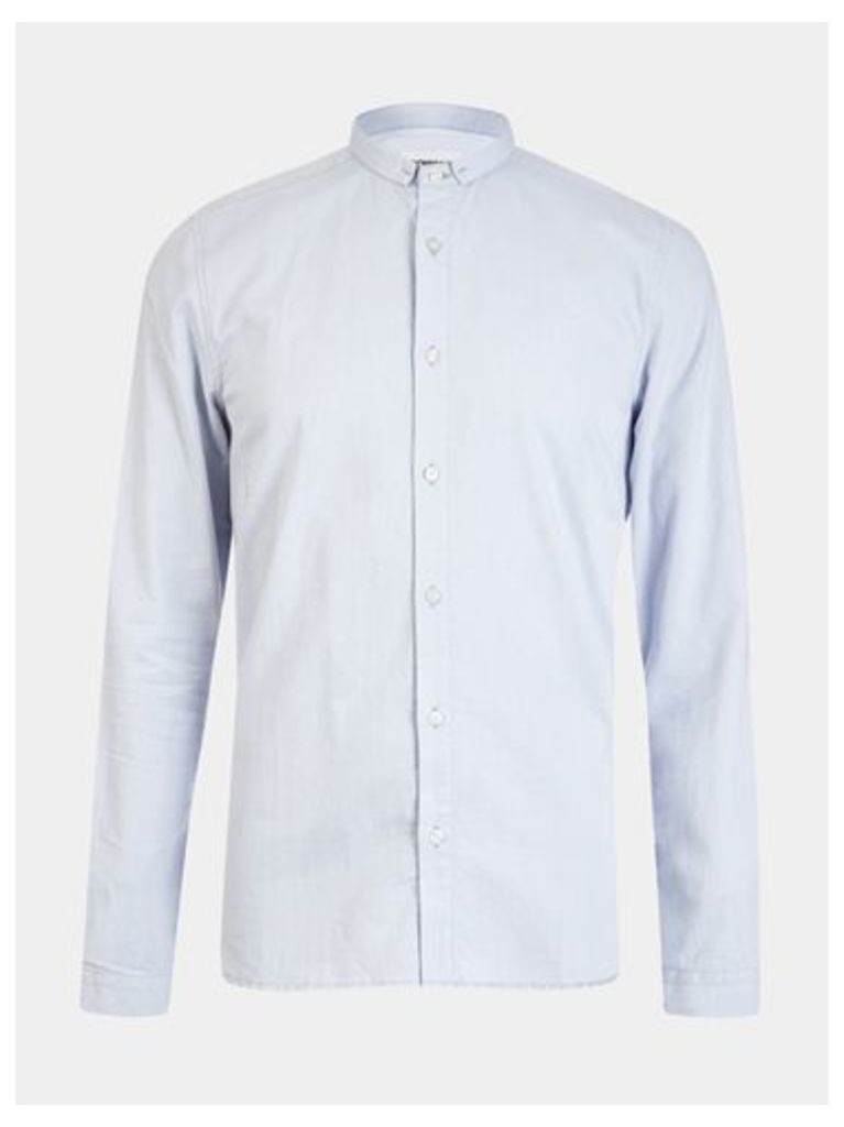 Mens Nowadays Light Blue Mini Collared Shirt *, Blue