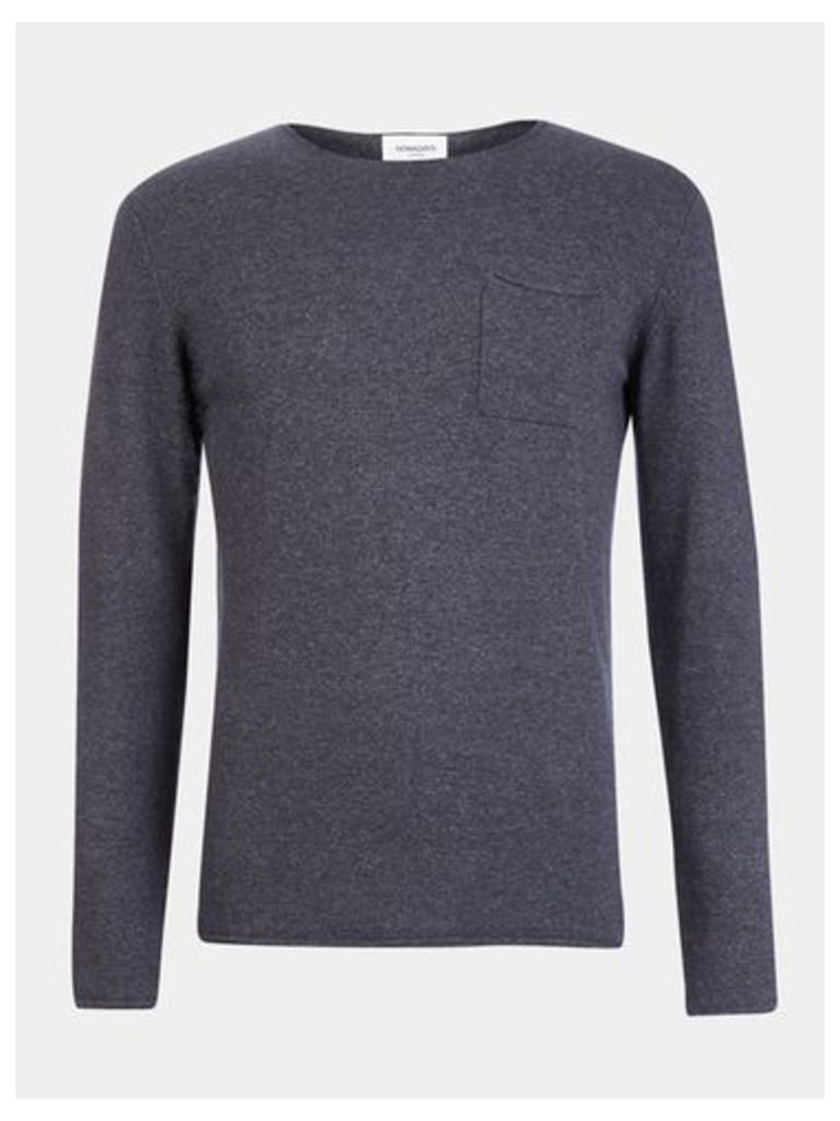 Mens Nowadays Navy Knitted Jumper*, Blue