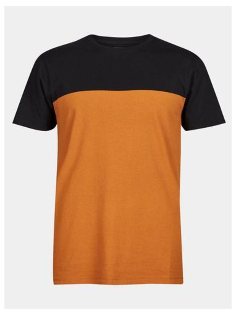 Mens Orange And Black Colour Block T-Shirt, ORANGE