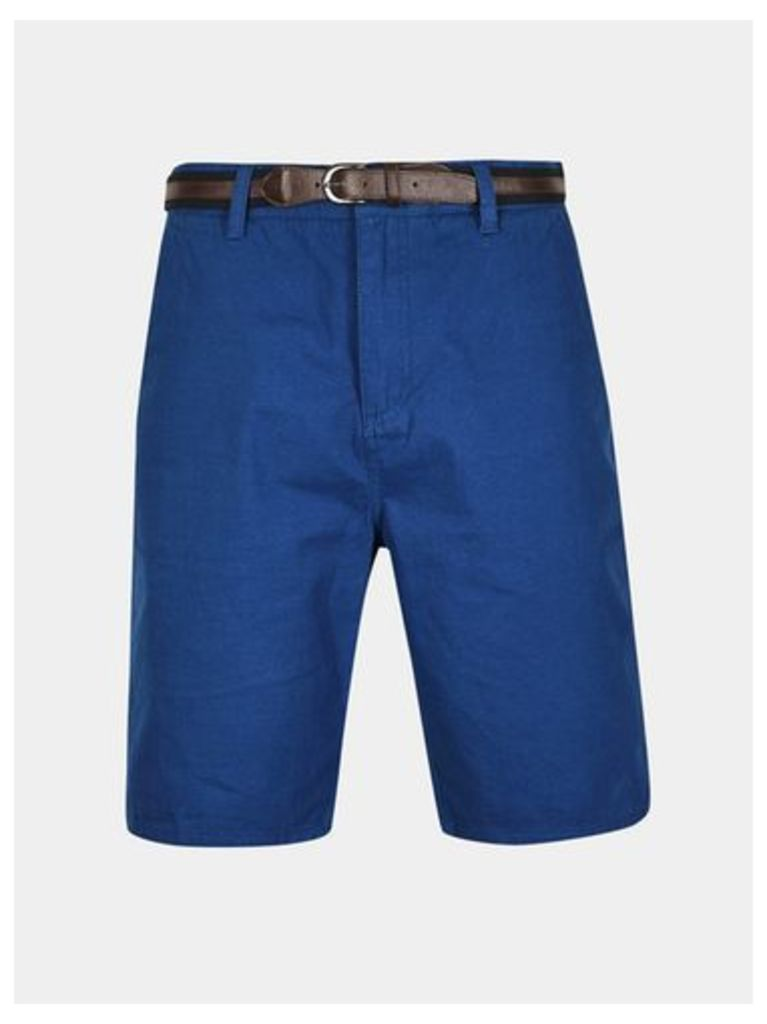 Mens Tokyo Laundry Aragon Mid Blue Shorts with Belt*, MID BLUE