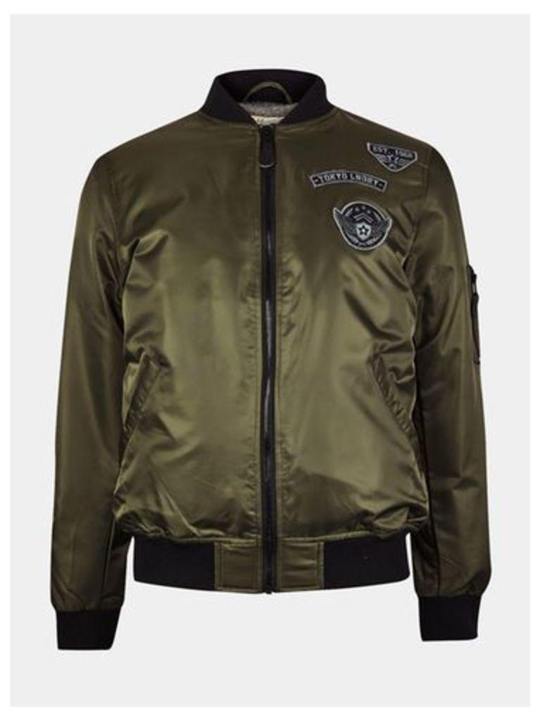 Mens Tokyo Laundry Badged Khaki Amalfi Bomber Jacket*, KHAKI